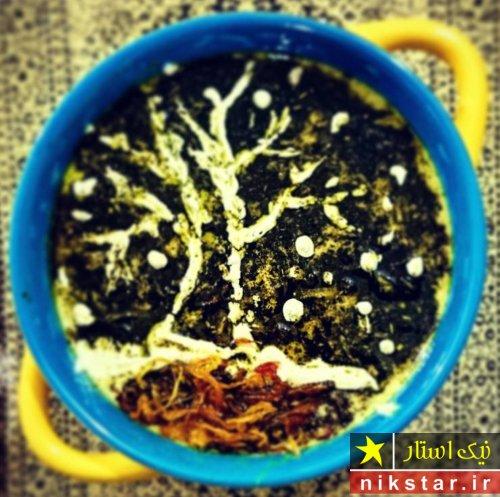 تزيين آش رشته به شکل درخت