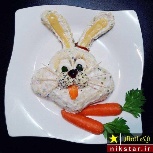 تزیین سالاد الویه به شکل خرگوش