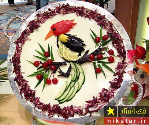 تزیین سالاد الویه به شکل پرنده