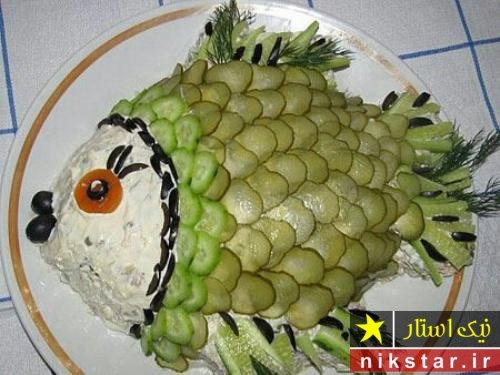 عکس تزیین الویه به شکل ماهی