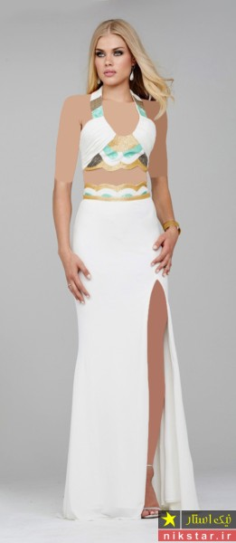 مدل لباس مجلسی بلند چاک دار