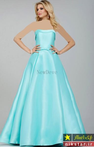 مدل لباس مجلسی بلند با پارچه ساتن