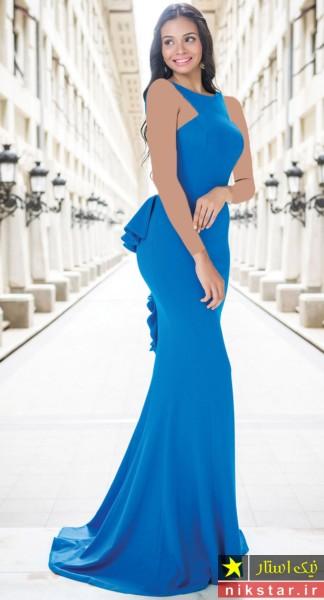 مدل لباس مجلسی بلند با پارچه مخمل