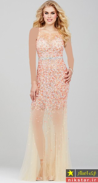 مدل لباس مجلسی بلند با پارچه حریر