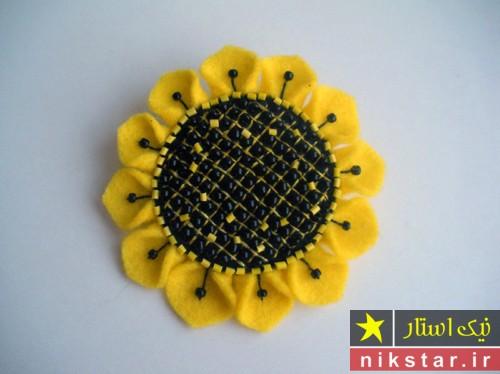 گل آفتابگردان نمدی با الگو برای گل سر، گل سینه، رویخچالی | نمد دوزی