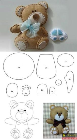 آموزش ساخت عروسک نمدی با الگو به شکل خرس