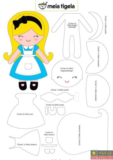 الگو ساخت عروسک نمدی دختر بچه