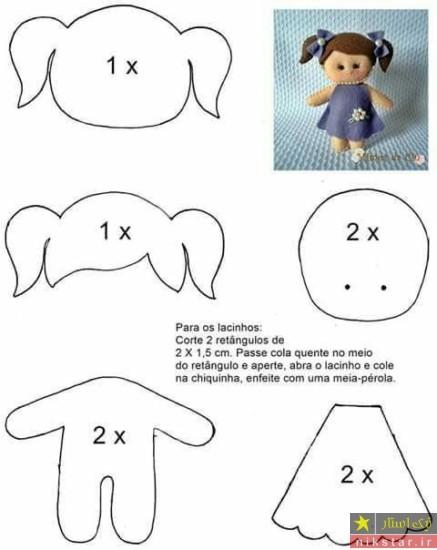 الگو درست کردن عروسک نمدی دختر بچه