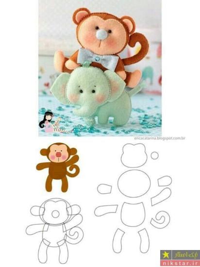 الگو عروسک نمدی پسرانه به شکل میمون