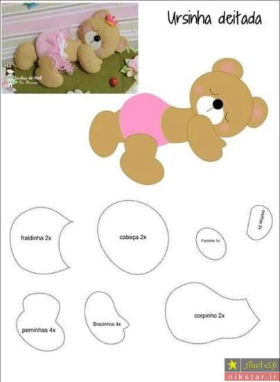عروسک نمدی دخترانه به شکل خرس