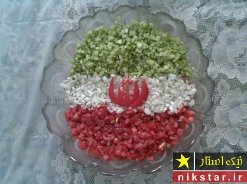 تزیین سالاد شیرازی تک نفره