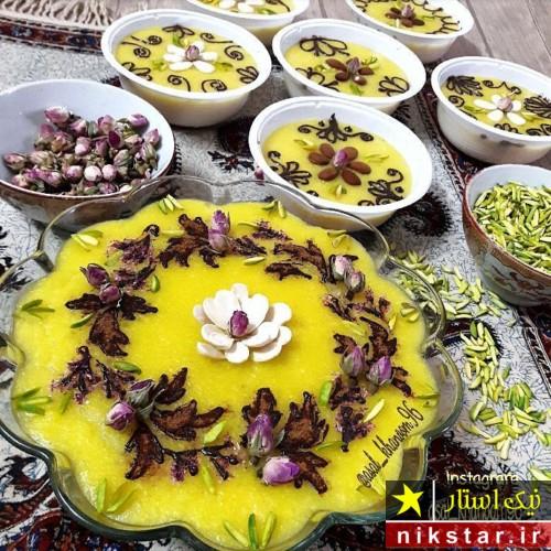 تزیین شله زرد با گل محمدی و دارچین