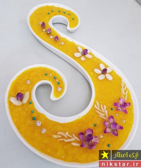 تزیین شله زرد با دارچین و گل محمدی