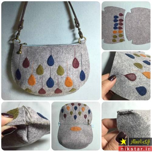 کیف دوشی نمدی با الگو