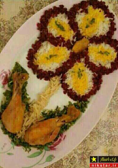 تزئین برنج به شکل گل