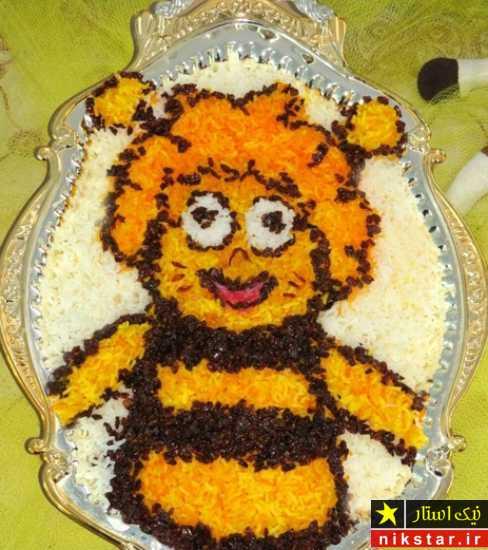 تصویر دیزاین برنج به شکل هاچ زنبور عسل