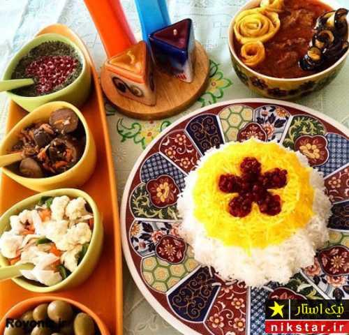 تزیین برنج با زرشک و زعفران