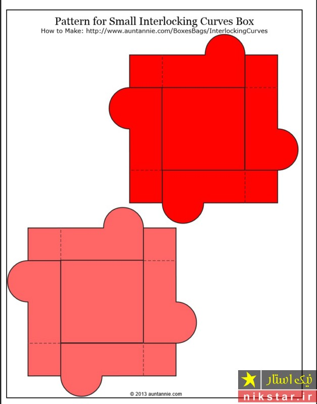 الگو جعبه کادویی مربعی