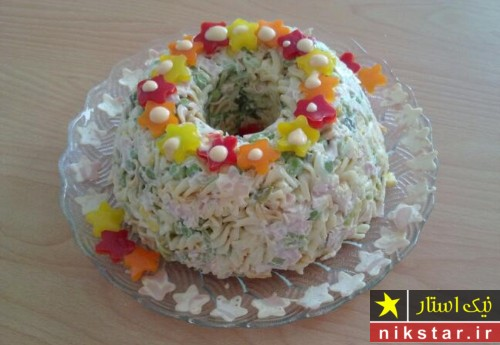 تزیین سالاد ماکارونی برای جشن تولد