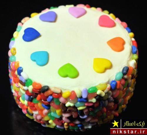 تزیین کیک تولد با داژه های ژله ای
