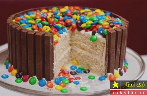 مدل تزیین کیک تولد با اسمارتیس و کاکائو