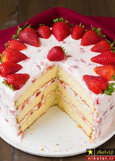 عکس تزیین کیک تولد با خامه و میوه
