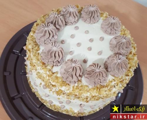 تزیین کیک تولد خانگی با خامه