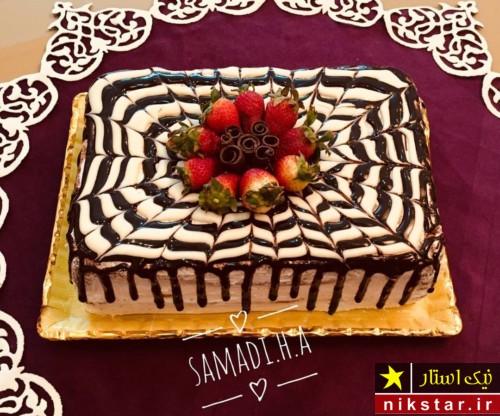 تزیین کیک تولد با خامه و کاکائو