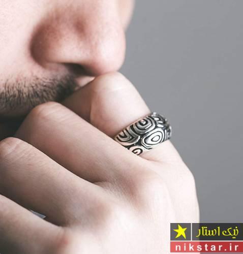 انگشتر نقره مردانه شیک