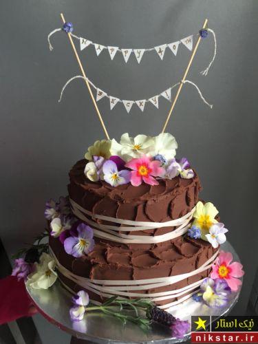 دیزاین کیک تولد با گل طبیعی