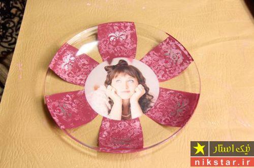 دکوپاژ ظروف شیشه ای با عکس