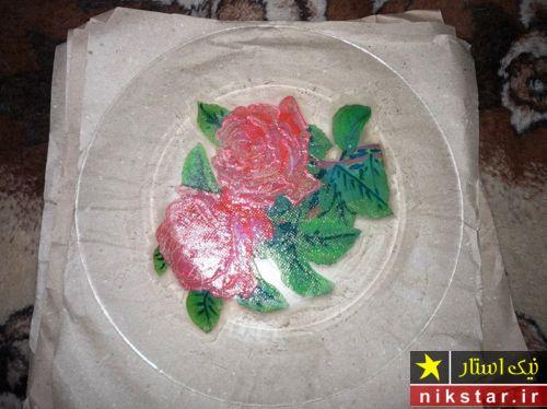 آموزش دکوپاژ بشقاب با دستمال و یا کاغذ کادو
