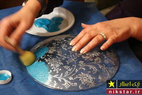 آموزش دکوپاژ بشقاب با طرحهای اسلیمی و رنگ