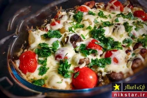 طرز تهیه خوراک قارچ با پنیر پیتزا