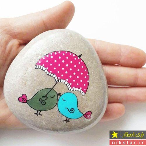 نقاشی روی سنگ با گواش