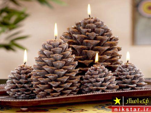 تزیین شمع با میوه درخت کاج