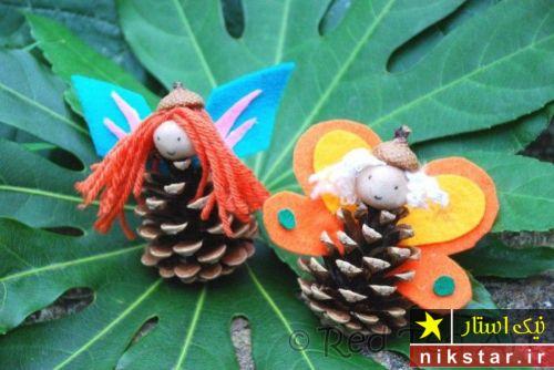کاردستی حیوانات با میوه درخت کاج