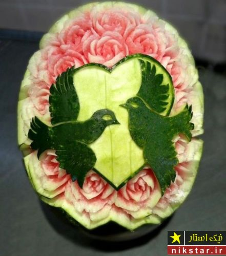 تزیین هندوانه شب یلدا عاشقانه طرح قلب برای عروس