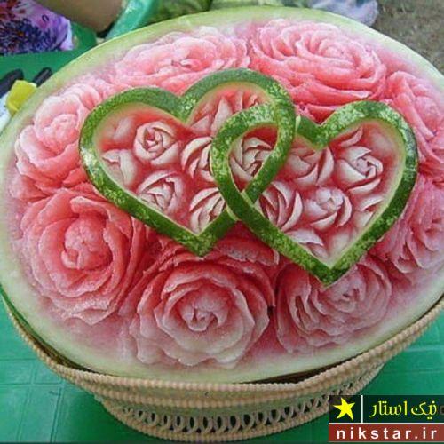 تزیین هندوانه شب یلدا برای تازه عروس