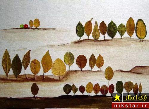کاردستی با برگ پاییزی پیش دبستانی
