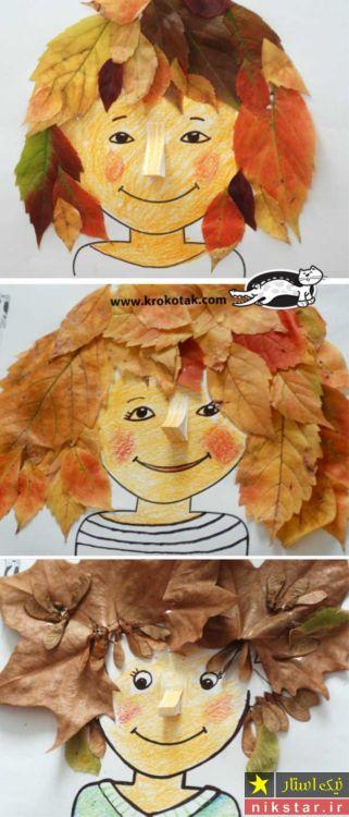 نقاشی برگ پاییزی درختان