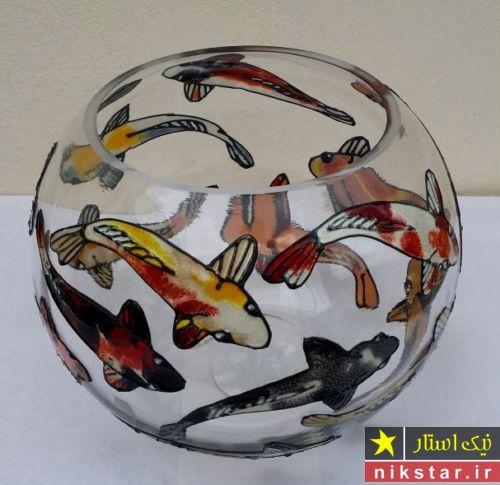 تزیین تنگ ماهی عید و نقاشی تنگ ماهی با رنگ ویترای