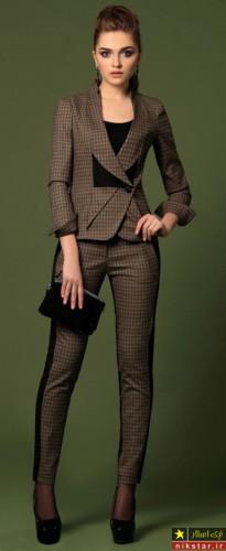 کت شلوار زنانه با پارچه چهارخونه