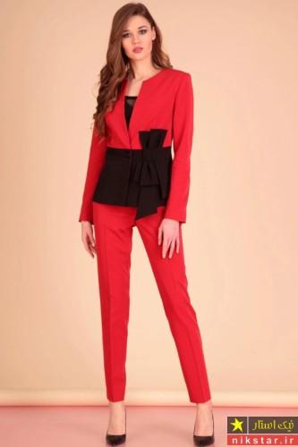 کت و شلوار قرمز زنانه