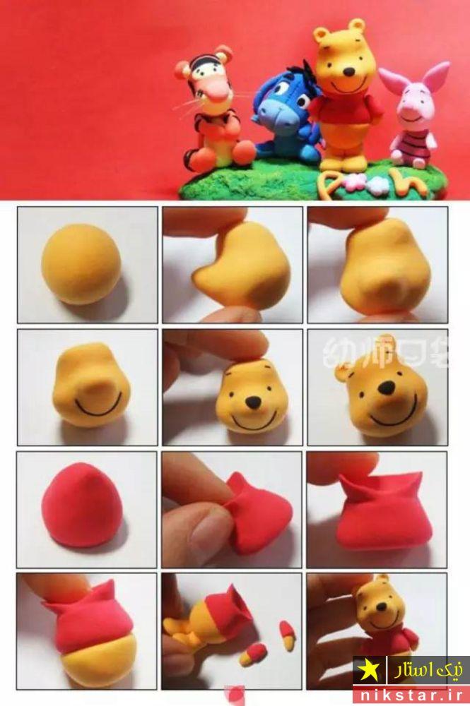 آموزش ساخت عروسک خمیری فانتزی به شکل پو