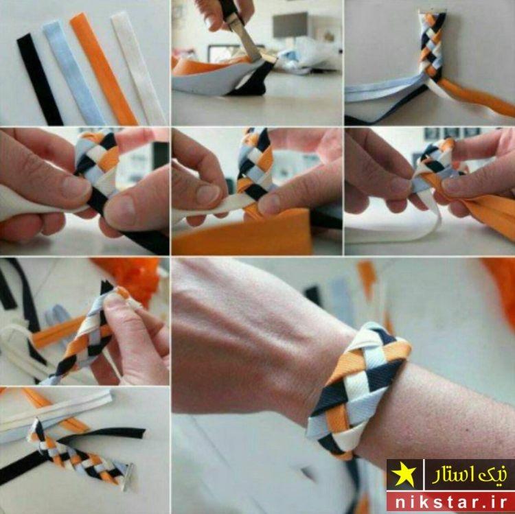 اموزش ساخت دستبند با پارچه مرحله به مرحاه