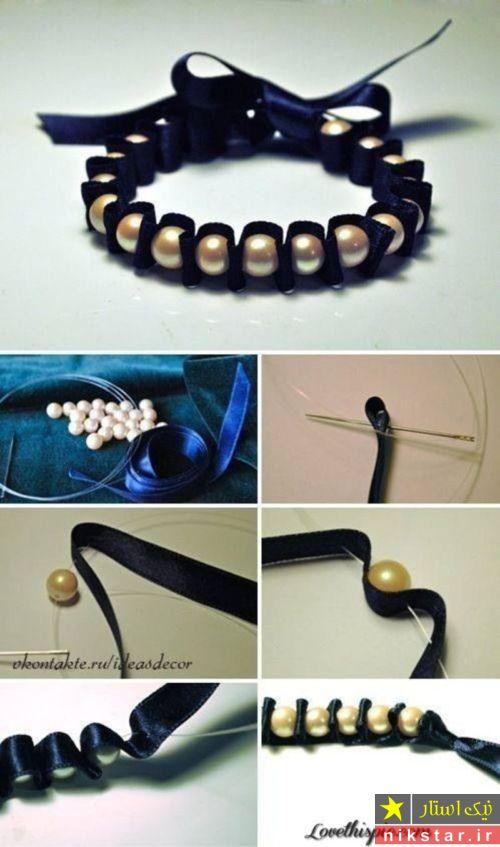 دستبند روبانی با سنگ مروارید