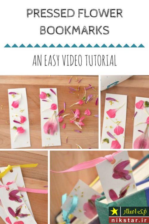 آموزش درست کردن بوک مارک با گل خشک