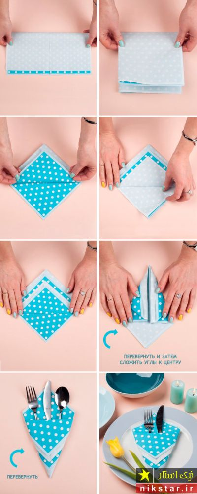 تزیین قاشق و چنگال با دستمال پارچه ای