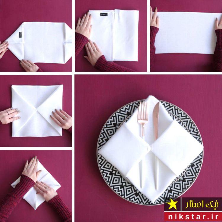 تزیینات دستمال سفره برای قاشق و چنگال